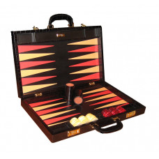 Backgammon Set Elegant XL Genuine Leather in Black