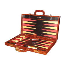 Backgammon Set Elegant XL Genuine Leather in Brown