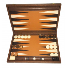 Backgammon Board in Wood & Leather Grambousa L Tan