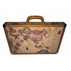 Backgammon Board XL in Leather World map design