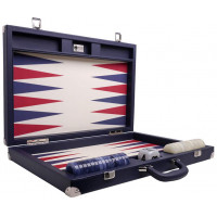 Backgammon Set XL Wycliffe Brothers Masters Blue Linen-leather Case Cream Field