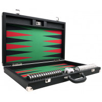 Backgammon-set XXL Wycliffe Brothers Prestige Svart väska, grönt spelfält