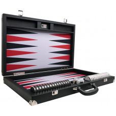 Backgammon-set XXL Wycliffe Brothers Prestige Svart väska, grått spelfält