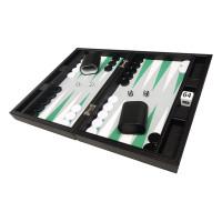 Silverman & Co Smooth  Backgammon in Black - Gray