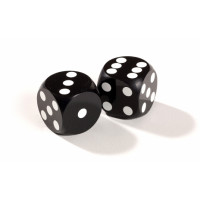 Official Precision Dice for Backgammon 13 mm Black