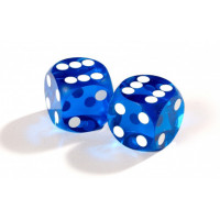 Official Precision Dice for Backgammon 14 mm Blue