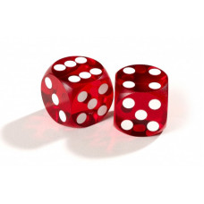Official Precision Dice for Backgammon 14 mm Red