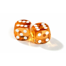 Official Precision Dice for Backgammon 13 mm Amber