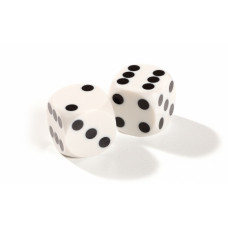 Official Precision Dice for Backgammon 13 mm White