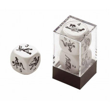 Kama Sutra Dice 22 mm in White engraved