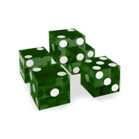Casino Precision Dice Set of 5 Serial Numbered in Green