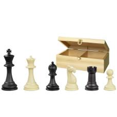 Schackpjäser Nerva Box i plast, i svart och benvitt KH 95 mm