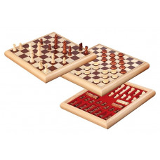 Draughts 10x10 & Chess 8x8 Two In One Combo Natur